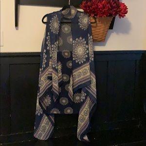 Scarf blue sheer navy medallion long vest one size